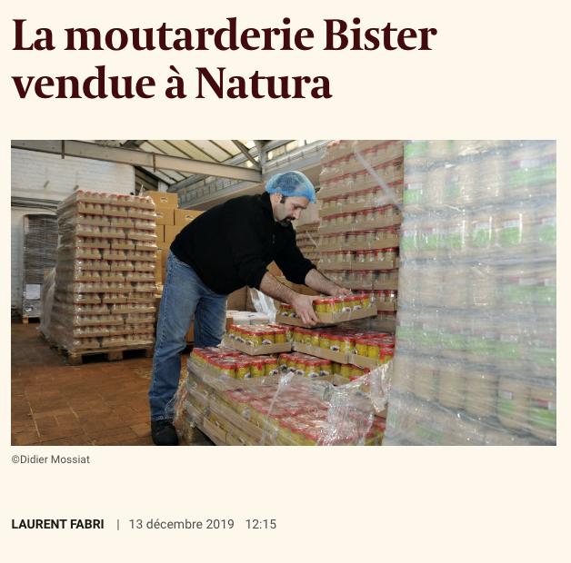 Capture d'écran d'un article de l'Echo s'intitulant «la moutarderie Bister vendue à Natura» publié le 13 décembre 2019 et disponible à l'adresse: https://www.lecho.be/entreprises/alimentation-boisson/la-moutarderie-bister-vendue-a-natura/10190864.html