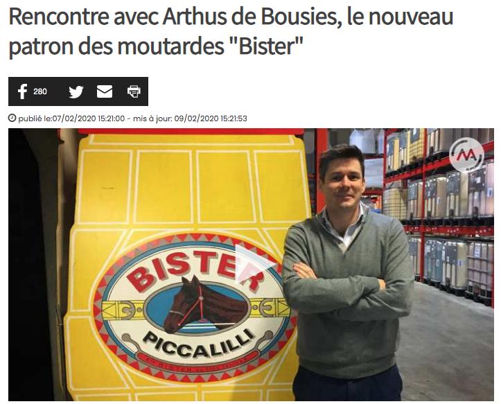 Capture d'écran de l'article de Matele s'intitulant: «Rencontre avec Arthus de Bousies, le nouveau patron des moutardes «Bister» publié le 07 février 2020 et disponible à l'adresse: https://www.matele.be/rencontre-avec-arthus-de-bousies-le-nouveau-patron-des-moutardes-bister