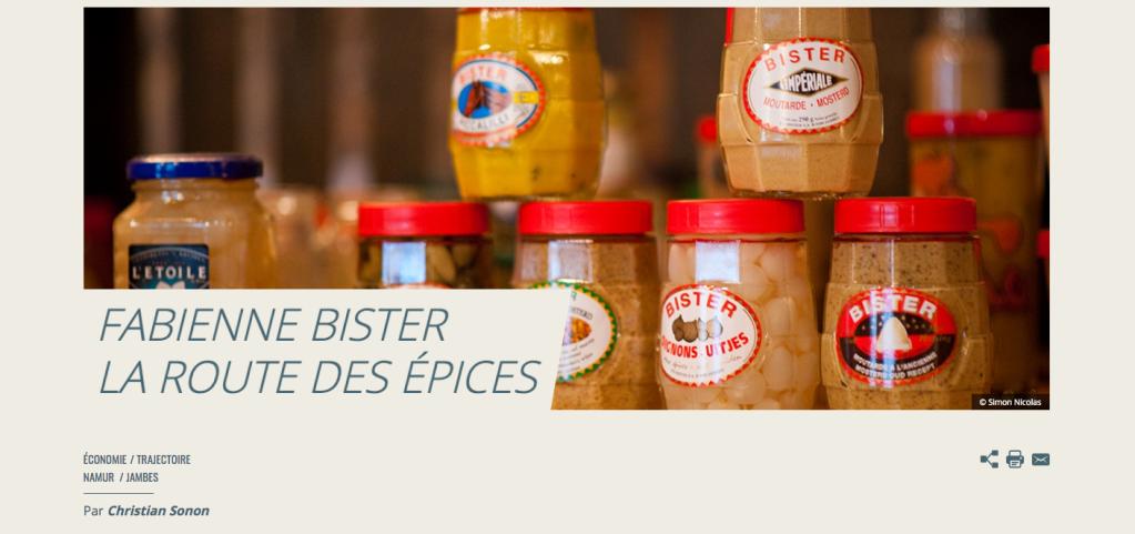 Capture d'écran d'un article de Waw Magazine s'intitulant: «Fabienne Bister, la route des épices», publié En 2013 et disponible à l'adresse: https://www.wawmagazine.be/fr/fabienne-bister-la-route-des-epices