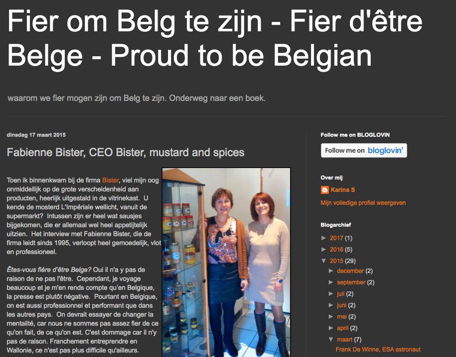Capture d'écran d'un article de Top Belgen s'intitulant: «Fier d'être Belge», publié le 17 mars 2015 et disponible à l'adresse: http://top-belgen.blogspot.com/2015/03/fabienne-bister-ceo-bister-mustard-and.html