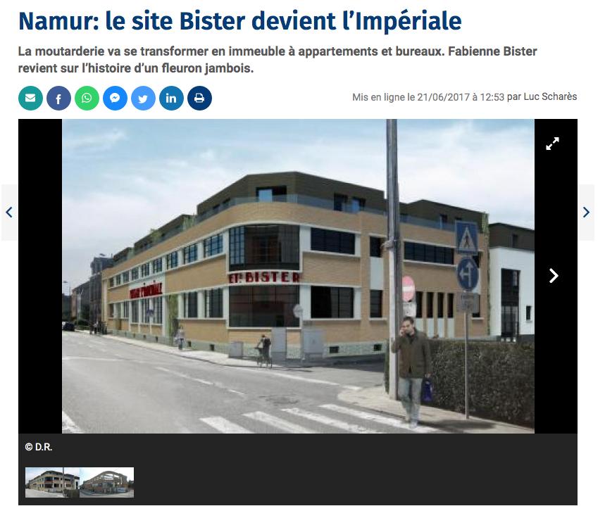 Capture d'écran d'un article du Soir s'intitulant: «Namur: le site Bister devient l'Impériale», publié le 21 juin 2017 et disponible à l'adresse: https://www.lesoir.be/100781/article/2017-06-21/namur-le-site-bister-devient-limperiale
